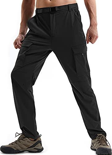 DAFENP Pantalones de Trabajo Trekking Hombre Elasticos Pantalones Cargo Montaña Senderismo Alpinismo Ligero Secado Rápido Transpirable Aire Libre KZ711M-Black-M