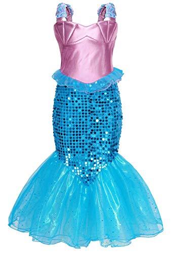 Jurebecia Princesa Vestidos Niñas Sirenita Disfraz Fiesta de Cumpleaños Mermaid Manga Larga Outfit con Accesorio Púrpura Verde