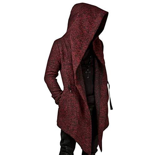 Mens Long Sleeve Irregular Hem Cardigan Coat Trench,Loose Fit Solid Color Hoodies Outwear Windbreaker (XXX-Large, Wine Red)