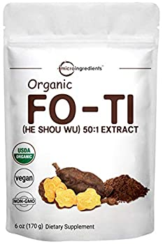 Maximum Strength Organic He Shou Wu Pure Fo Ti 50 1 Extract Powder 6 Ounce Premium Foti Supplement Traditional Anti Aging Herb Powerfully Promotes Hair Health and Antioxidant No GMOs and Vegan