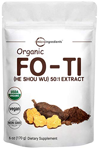 Maximum Strength Organic He Shou Wu, Pure Fo Ti 50:1 Extract Powder, 6 Ounce, Premium Foti Supplement, Traditional Anti Aging Herb, Powerfully Promotes Hair Health and Antioxidant, No GMOs and Vegan