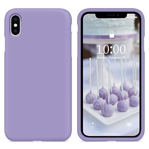 SURPHY Cover Compatibile con iPhone XS, Cover Compatibile con iPhone X, Custodia per iPhone X XS Silicone Cover Antiurto con Fodera in Microfibra Protettiva Case per iPhone X XS 5.8', Lavanda