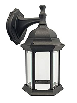 CORAMDEO Outdoor Hex Straight Glass LED Wall Sconce Lantern for Porch, Patio, Wet Location, Built in LED Gives 75W of Light from 9.5W of Power, Durable Cast Aluminum with Black Finish & Clear Glass