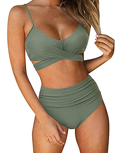 ABINGOO Costume da Bagno Donna Bikini a Vita Alta in Due Pezzi Push Up Floreale Beachwear Swimsuit,Verde,M