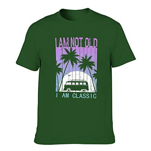 Camiseta de algodón para hombre con texto 'I Am Not Old I Am Classic multicolor ligera – Camisa estampada Dark Green001. XXXXXXL