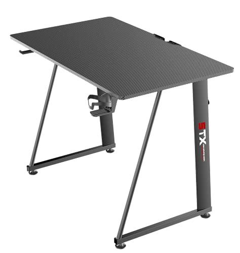 Tavolo scrivania da Gaming Desk Postazione Computer Carbonio porta Cuffie Portabicchiere Laptop da Gioco Gestione Cavi Ergonomica Gamer (S)