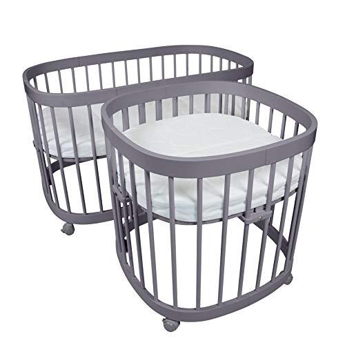 tweeto - Cuna para bebé 7 en 1 (multifuncional, ampliable, incluye colchón de 3 piezas), color gris