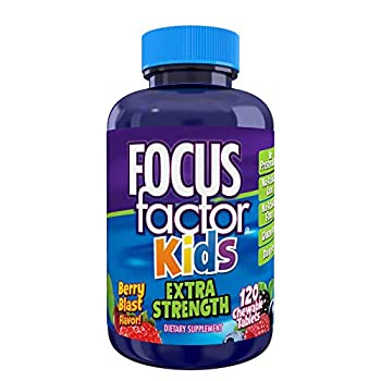 Focus Factor Kids Extra Strength Daily Chewable for Brain Health Support 120 Count – Vitamins for Kids - Quality Formula – Gluten & Dairy Free Supplements for Children – No Artificial Sweetener