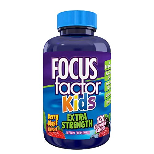 Focus Factor, Kids Extra Strength Daily Chewable for Brain Health Support, 120 Count