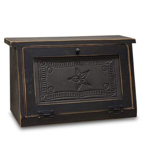 Rustic Farmhouse Solid Wood and Tin Breadbox with Star Punch Design. Vintage Style Bread Storage Container is a piece of furniture that will be passed on for Generations