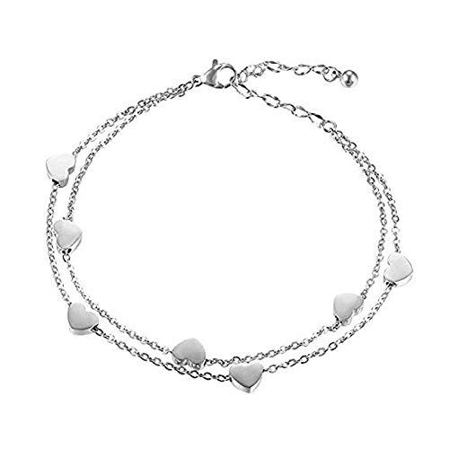 XQxiqi689sy - Pulsera para mujer, elegante, de aleación, con corazón, con doble capa, cadena de muñeca, ideal como regalo plateado