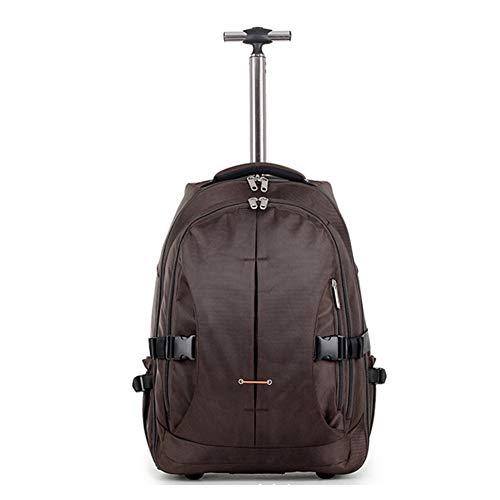 Mochila con ruedas para equipaje de cabina de pasajero, multifunción, gran capacidad, mochila con dos ruedas grandes, mochila ligera, 33 x 22 x 46 cm Marrón café