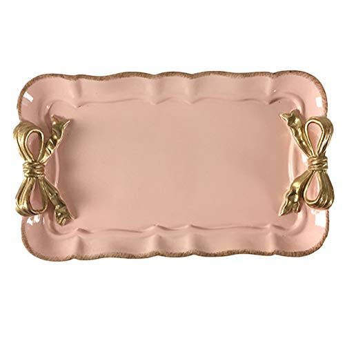 Retro Rectangle Butterfly Bowknot Small Decorative Jewelry Dish Holer Tray Plate for Dessert Cake Cafe Home DecorPink