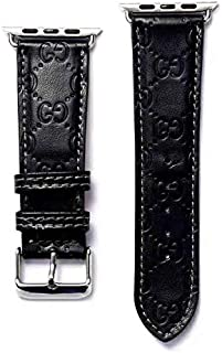 The ONE 42 Compatible Apple Watch Straps 42mm (fit for 44mm), Luxury Fashion PU Leather Classic Wrist Bands for Women and Men, Replacement for 42/44MM Apple Watch Series 5 4 3 2 1 (Black)
