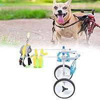 ペット車椅子、ペット支援車、アルミニウム合金シルバーダブルホイールペット車椅子障害者犬支援ウォークカー後脚リハビリ犬用補助車猫(M)