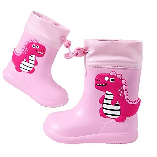 Botas de Agua Unisex Niños Niñas Luces Wellington Botas de Lluvia Impermeable y Antideslizante Rain boots rosado EU 24/25