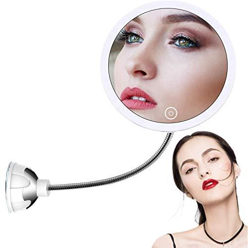 STLOVe LED 10X Kosmetikspiegel Schminkspiegel Mit LED-beleuchtetem 10X Vergrößerungsspiegel mit Saugnapf und flexiblem Schwanenhals 360 ° Verstellbarer Badspiegel USB&batteriebetrieben