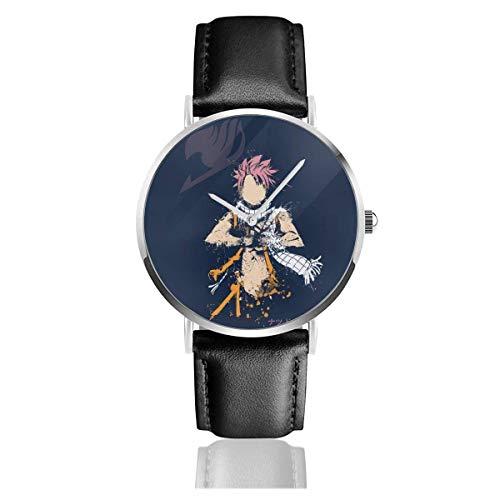 Relojes Cuarzo Cuero Banda Negra Colección Joven Regalo Unisex Business Casual Fairy Tail Natsu Spirit