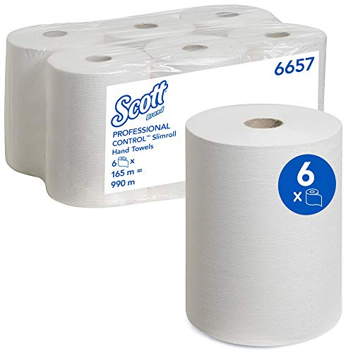 Scott Papierhandtuchrollen für Spender, Slimroll, Airflex*-Technologie, 1-lagig, 6 x 165 m, weiß, 6657