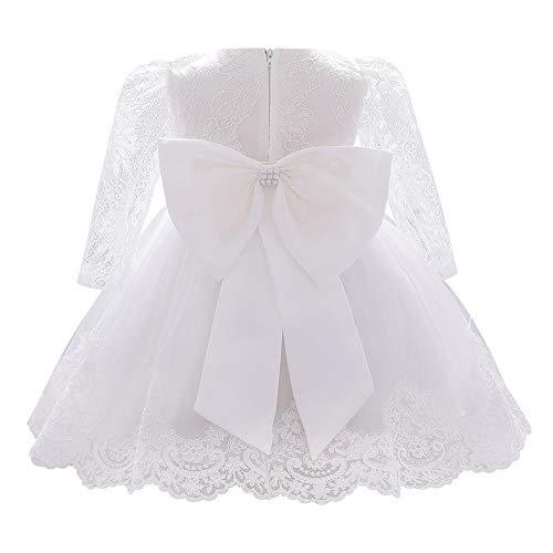 FYMNSI Vestido de niña para fiesta de cumpleaños o bautizo, con lazo y flores, con cinta para la frente, para princesa, boda, dama de honor, vestido de fiesta 11# blanco. 12-18 Meses
