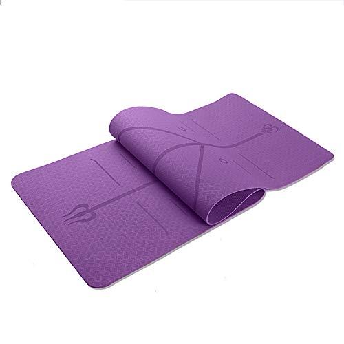 SailorMJY yogamat, isomat, gymnastiekmat, fitnessmat, TPE-lichaamslijn, geschikt als anti-slip en milieuvriendelijke yogamat met afzonderlijke laag paars (deep purple)