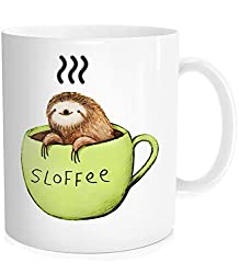 Funny Cute Sloth Sloffee Inspirational Quote Mug