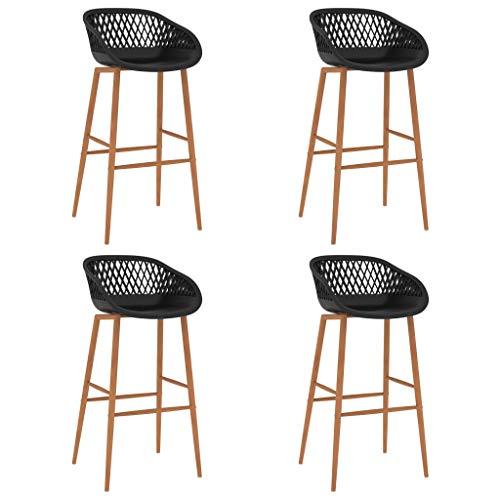 vidaXL 4X Taburetes de Cocina Muebles Interior Sillas Asientos Altas de Bar Barra Bistró Mostrador Hogar Pub Respaldo Comedor Casa Negro