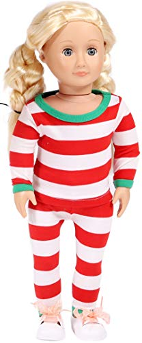 Matching Family Christmas Little Girls Red Striped Doll Pajamas Jammies for 16-18 Inch Doll Pjs 1 Pcs Tops and 1 Pcs Pants