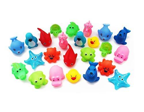SKKSTATIONERY Squeak Bath Toys 24 Pcs  Cute Animals  Soft Rubber Squeeze Sound  Wash Shower Bath Toys for Kids