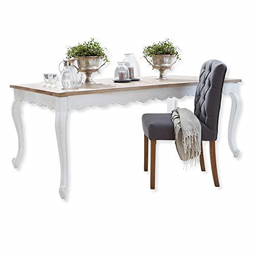 Loberon Tisch Bellevue, Mangoholz, H/B/T ca. 76/240 / 100 cm, braun/weiß