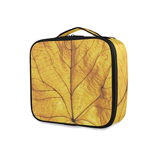 Trousse de toilette Voyage Outils portatifs Cosmetic Train Case Maquillage Sac Beauté Stockage Art Golden Leaf