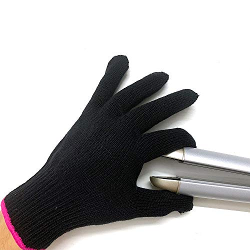 Lessmon Professional Heat Resistant Glove for Hair Styling Heat Blocking for Curling, Flat Iron and Curling Wand Suitable for Left and Right Hands, 1 Piece, Pink Edge