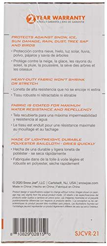Housse de protection pour souffleuse à neige électrique Snow Joe de 21po - 2