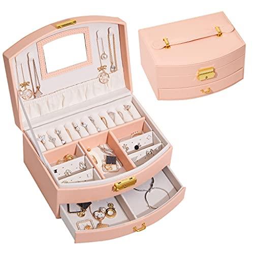 XTXY Joyero, Caja De Cuero PU con 2 Niveles, Espejo para Joyero con Cerradura, Estuche De Viaje Portátil, Organizador De Anillos para Pendientes (Color : Pink)