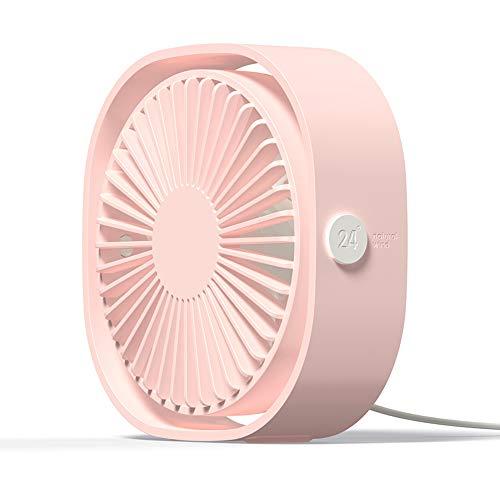 Simpeak Ventilador Mini USB Silencioso de 3 Velocidades Mini Fan, 360 Grados Rotation Portátilpara Biblioteca, Oficina, Camping, Picnic, Excursiones(Rosa)