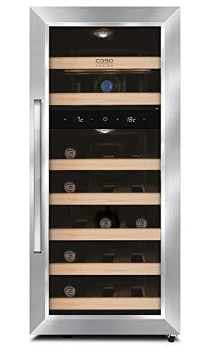 CASO WineDuett 210 | Weinkühlschrank für 21 Flaschen Rotwein | 2 Zonen für 7-18°C und 10-16°C, LED und Touch, 9 Böden aus Holz, UV-Filter, Edelstahl