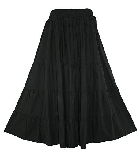 Beautybatik Black Women Boho Gypsy Long Maxi Tiered Peasant Skirt 3X