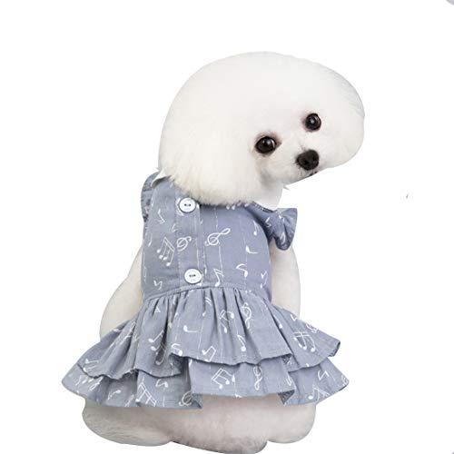 Bole-kk 犬の服 ペット服 ドッグウェア スカートワンピース デニム 小型犬 中型犬 洋服 tシャツ ドレス チェック 春夏秋 かわいい