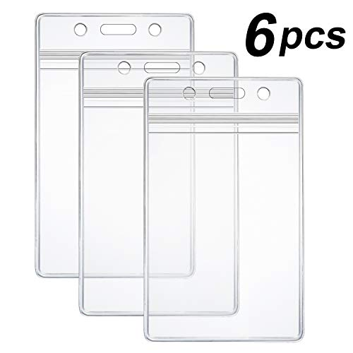 6 Pcs Extra Thick ID Card Badge Holder,...