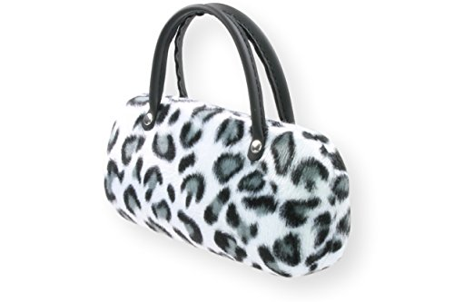 Brillenetui Damen mit samtiger Oberfläche wie Fell - auch innen - 4 verschiedene trendige Designs, Farbe:weiss grau/schwarz (013)