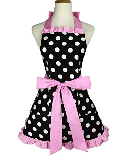 Floosum Lovely Polka Dot Retro Ruffle Side Sexy Cute Lady's Kitchen Cooking Apron with Pocket Gift for Women Girls Chef Housewarming, Pink