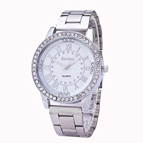 FAMILIZO Mujeres Hombres Elegante Moda De Cristal Rhinestone De Acero Inoxidable Reloj...