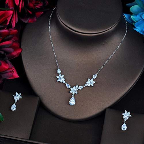 LIYDENG Joyas Diseño Brillante AAA Cubic Zircon Wedding Women Jewelry Conjuntos De Joyería Conjuntos Collar Conjuntos Vestido Accesorios Regalos (Color : Platinum Plated)