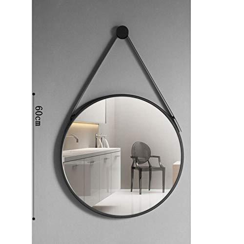 MIRROEHUTT Espejo colgante, espejo de maquillaje de tocador redondo for baño, diámetro negro 40/50/60/70 cm, marco de metal con cadena colgante Estilo simple (Color : 60 cm)