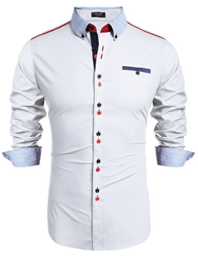 COOFANDY Herren Hemd Langarm Regular Fit Männer Shirt Kentkragen Casual Freizeit Business Weiß XXL