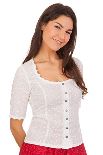 MarJo Trachten Bluse, kurzer Arm - ELIN-Lilou - weiß, Größe 48