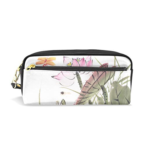 Pencil Case Chinese Painting of Lotus with Dragonfly, Pencil Box Bag Pouch with Zipper Girls Large Makeup Bag Organizer with Compartments