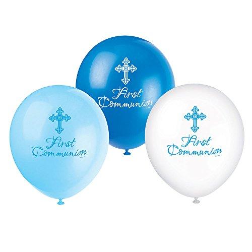 Unique Party - Globos de Látex de Primera Comunión - 30 cm - Diseño Religioso Cruzado Radiante - Color Azul - Paquete de 8 (43831)
