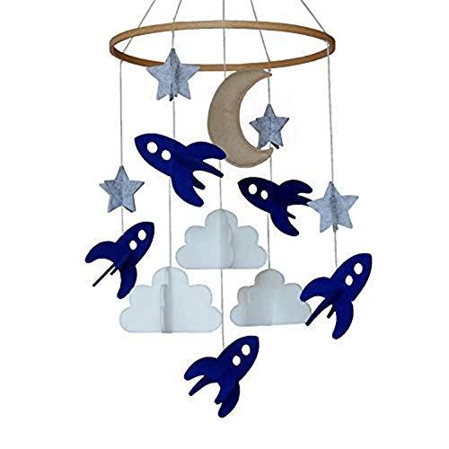 Iwinna Baby Crib Mobile Spaceships Stars Clouds Moon 100 Felt Nursery Decor
