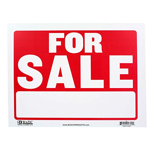 """BAZIC 9"""" X 12"""" for Sale Sign, Yard Sale Garage Sale Retail Store Policy Business Plastic Signs, Wall Door Border, Waterproof Indoor Outdoor Advertising Signage"""